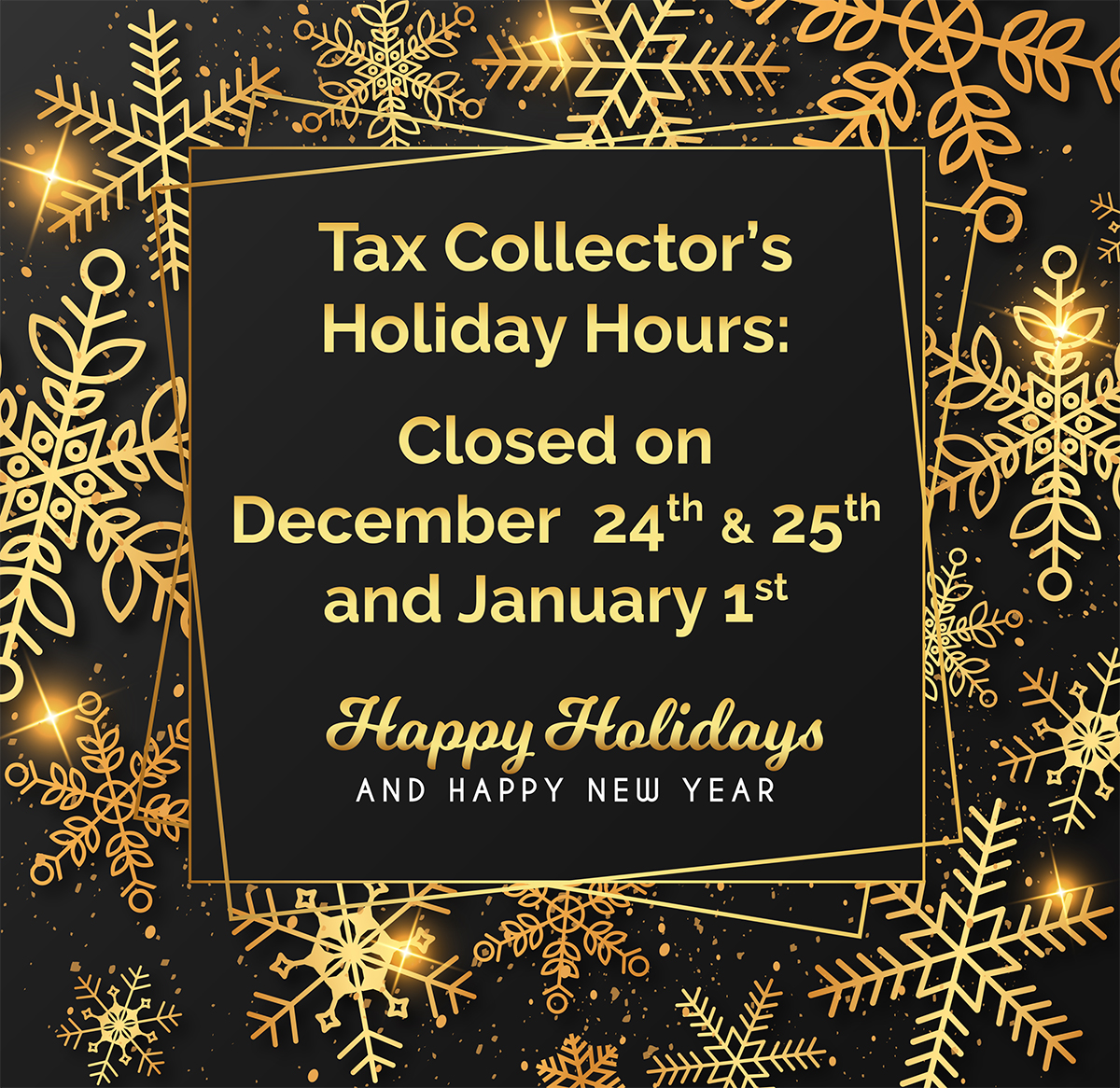 Tax Collector Holiday Hours – Alachua County Tax Collector